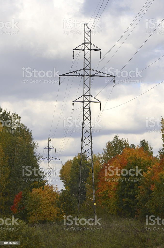 ?lectricity high voltage power post autumn royalty-free stock photo