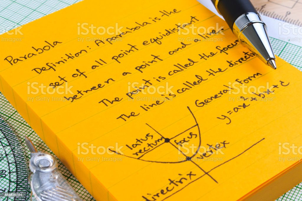 Lecture Notes in Mathematics. Parabolas and quadratic theory. stock photo