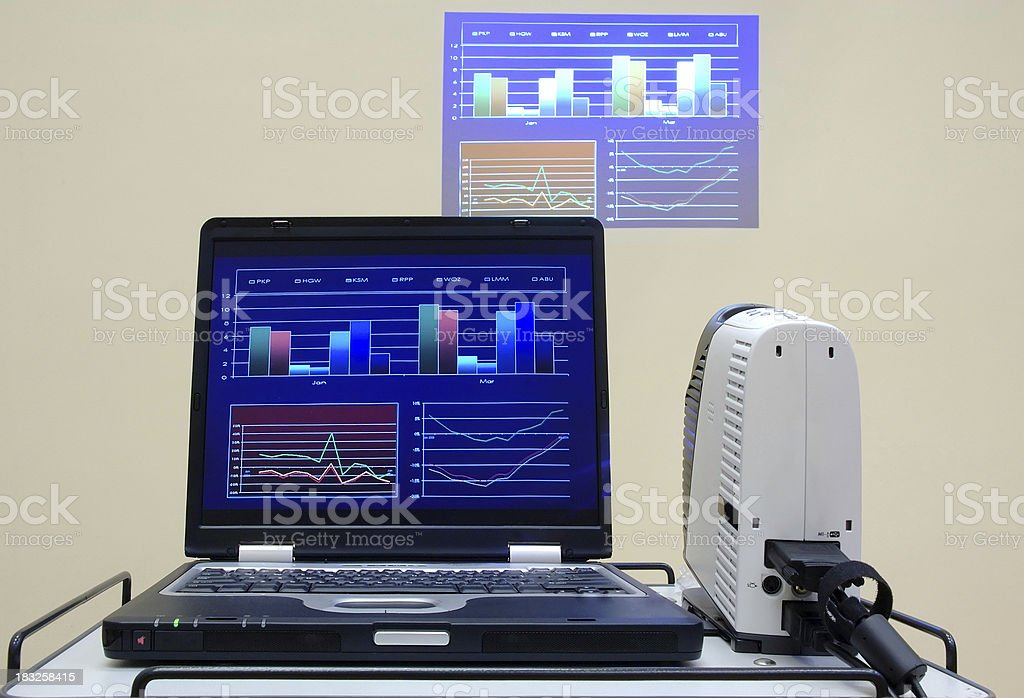 lecture or conference set - notebook and projector royalty-free stock photo