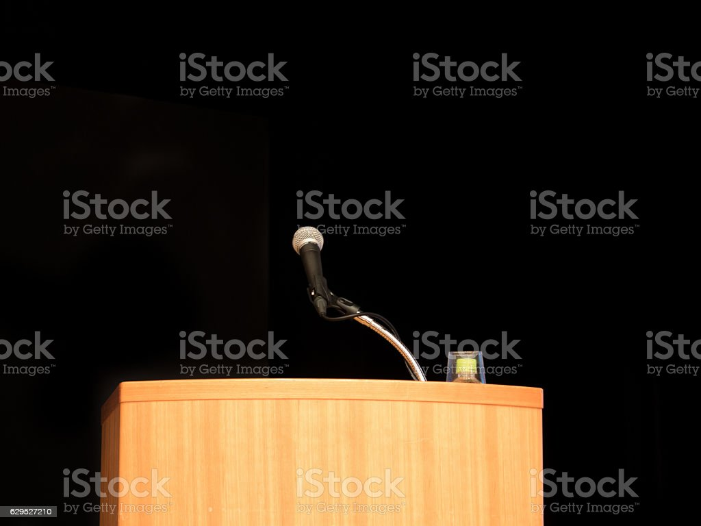 Lecturer and microphone stock photo