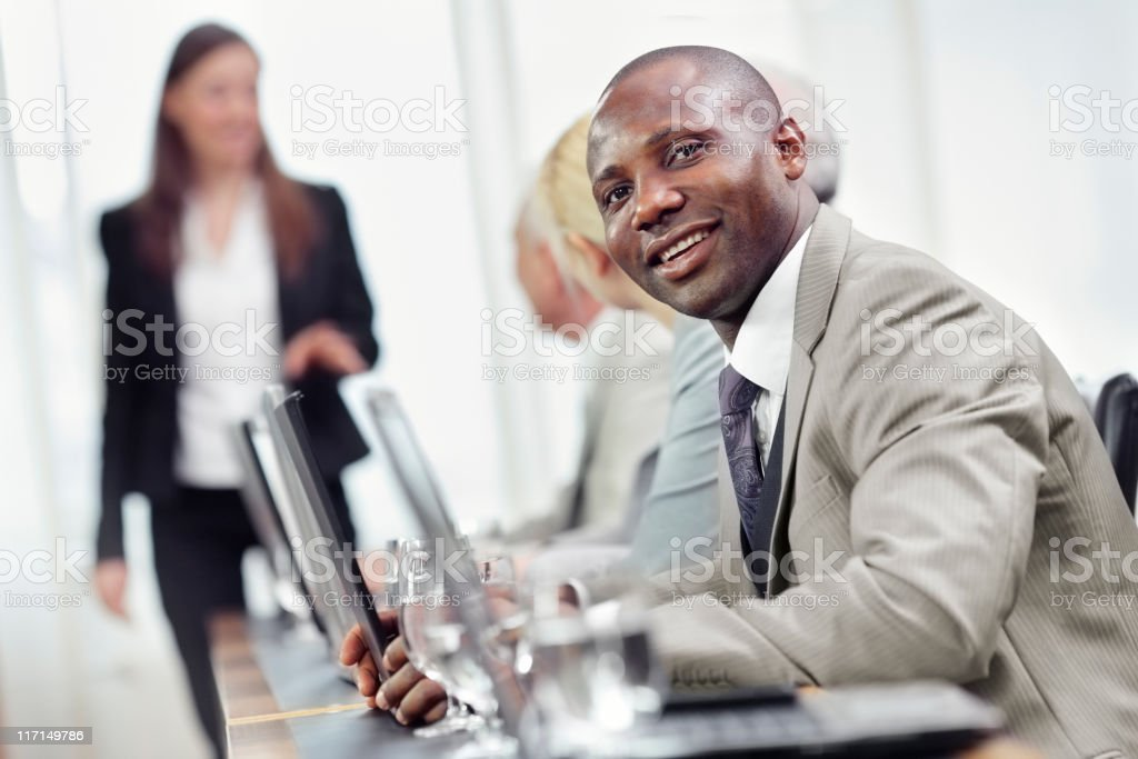 lecturer teaches business content stock photo
