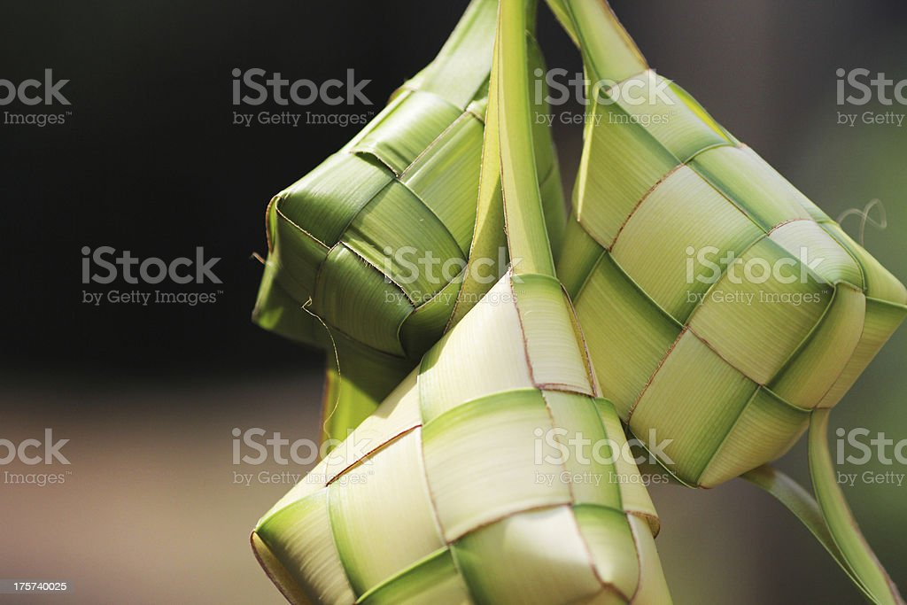Led Ketupat with crafted boxes stock photo