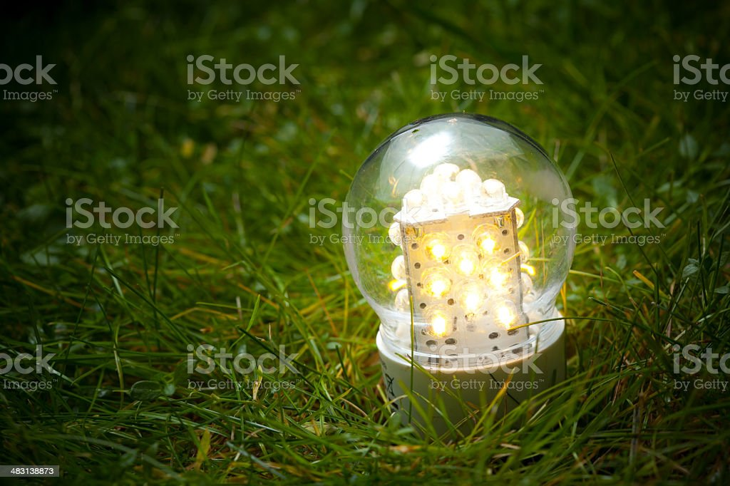 led lamp on the grass royalty-free stock photo