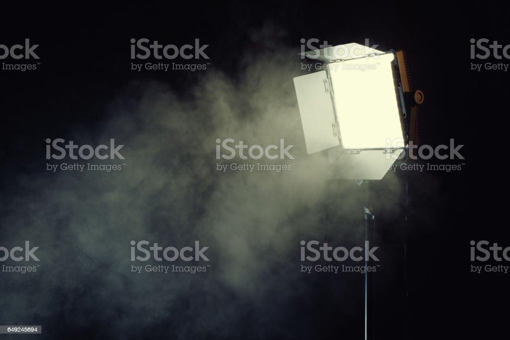 Led light panel with smoke effect stock photo