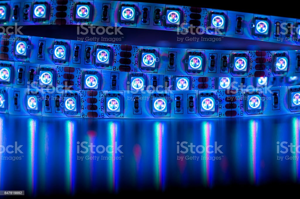 led rgb lights blue color stock photo