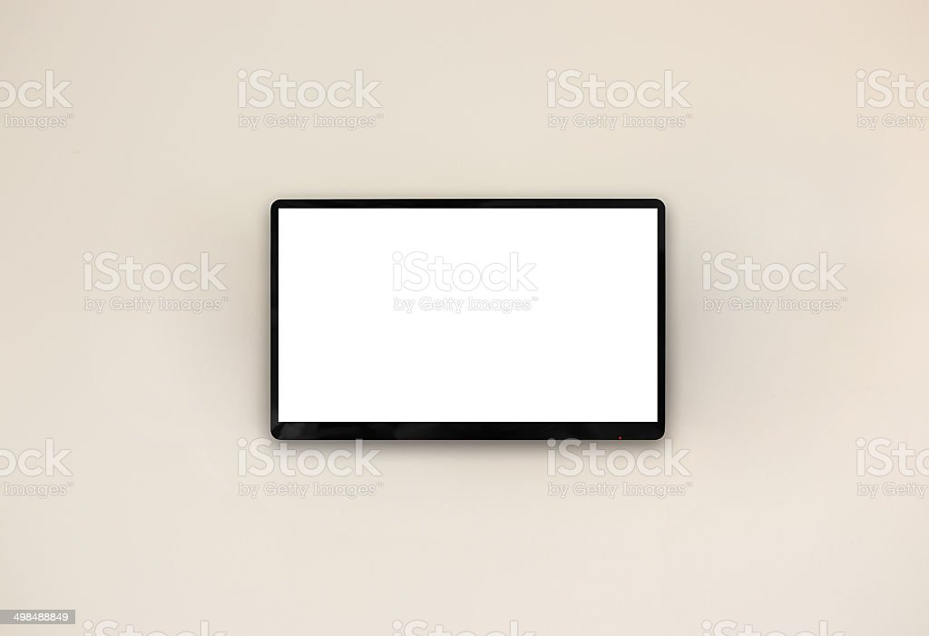 Led tv hanging on the wall background stock photo