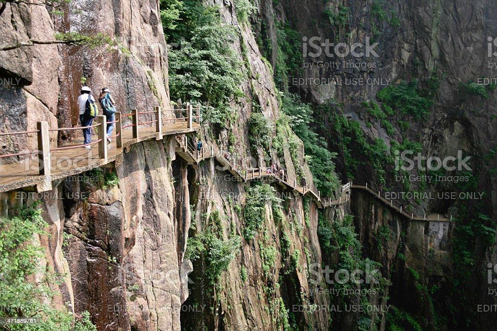 Ledge Path on Huangshan stock photo