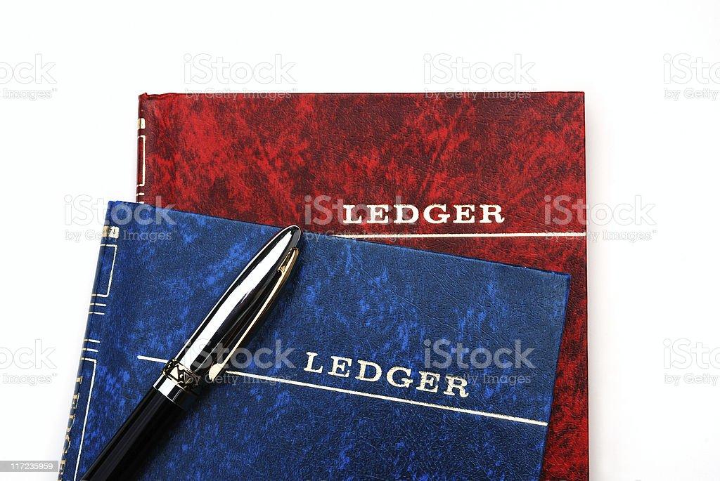 Ledger books with pen stock photo