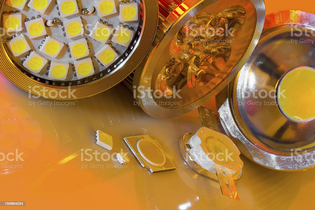 GU10 LEDs bulbs and different SMD chips in mood lighting royalty-free stock photo