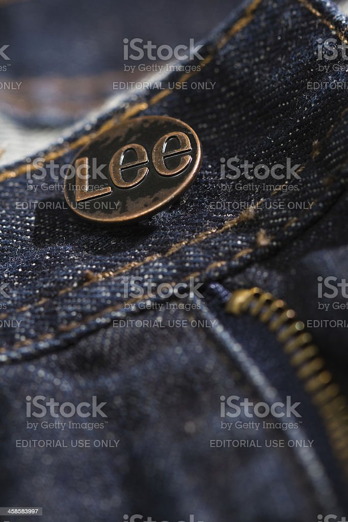 Lee jeans button close up stock photo