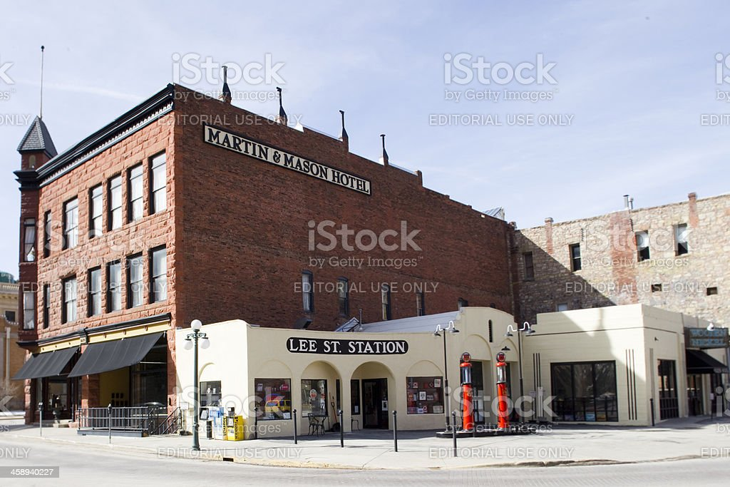 Lee St. Station/Martin and Mason Building - Deadwood, South Dakota stock photo