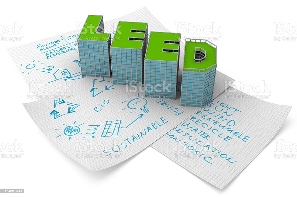 3D Leed word over brainstorming papers stock photo