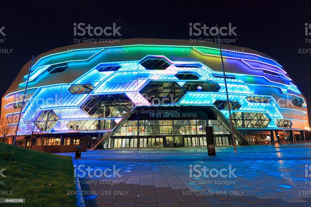 Leeds Arena exterior lit up at night stock photo