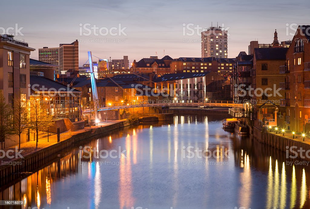 Leeds at night royalty-free stock photo