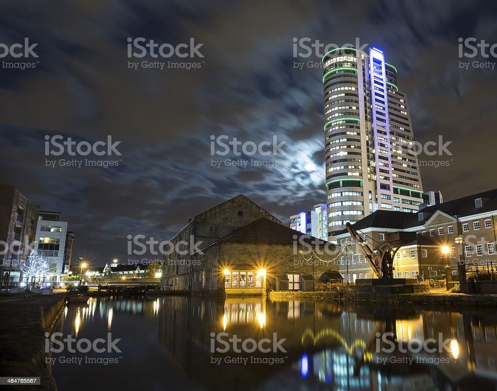 Leeds at night stock photo