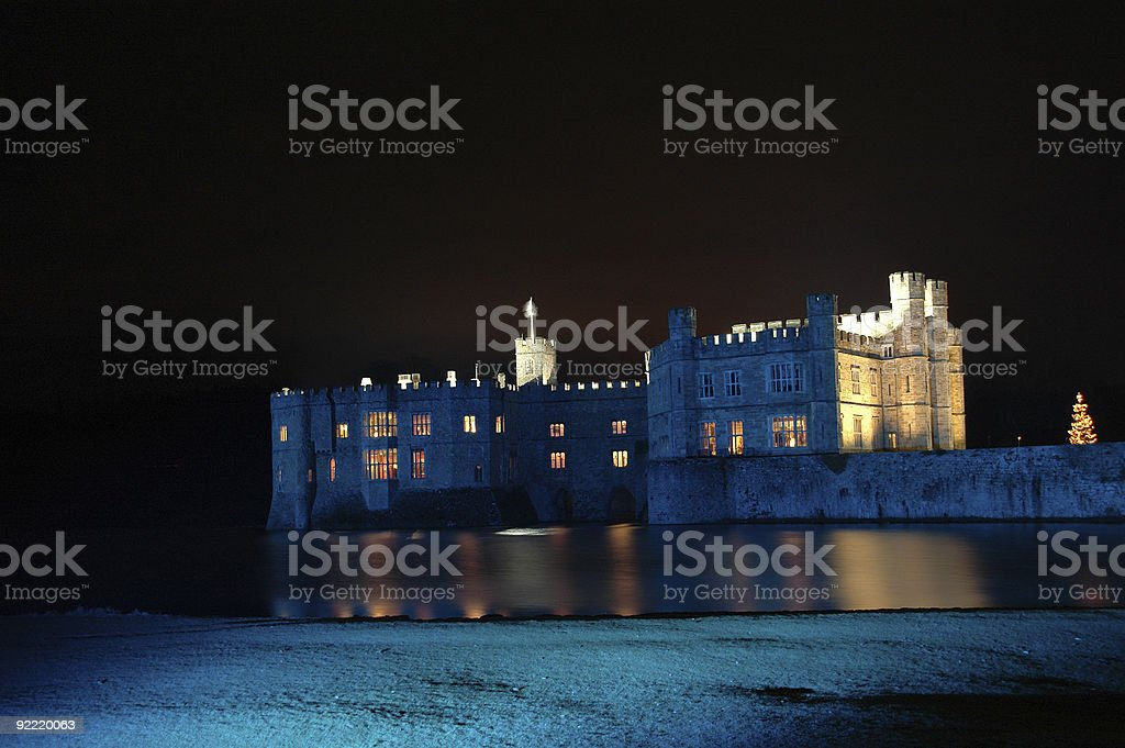 Leeds Castle at Christmas stock photo