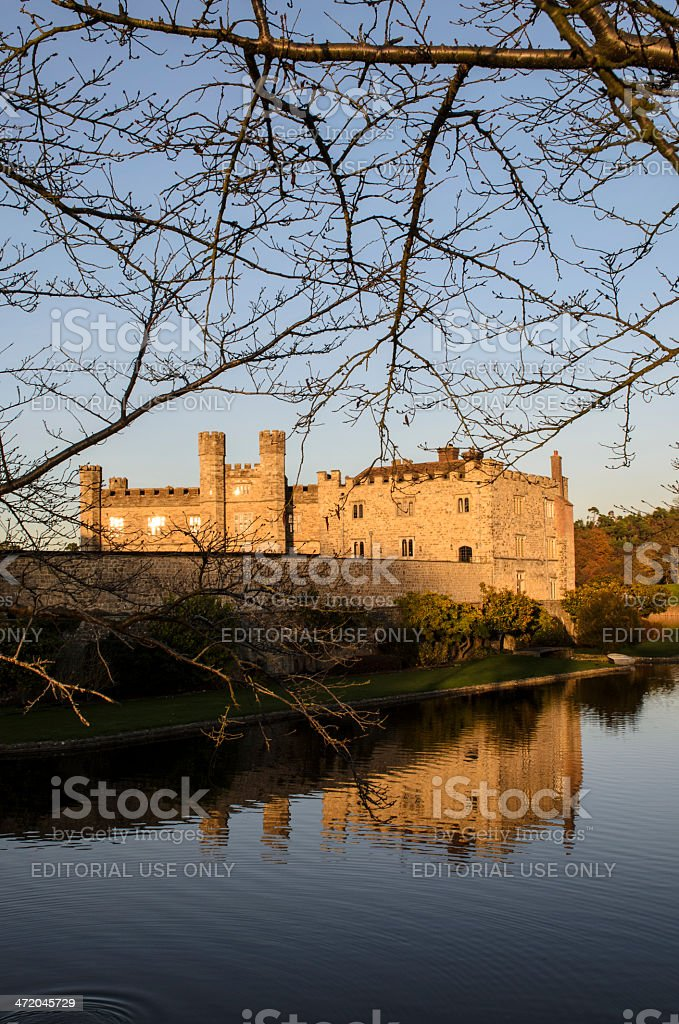 Leeds Castle Bathed in Winter Evening Light royalty-free stock photo