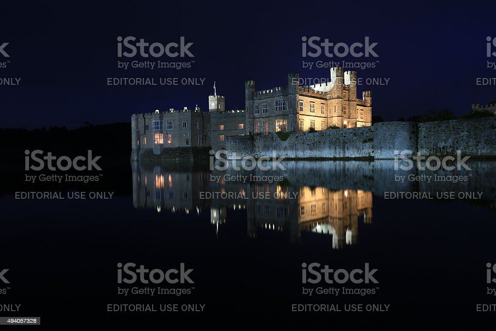 Leeds Castle, Kent, England, at night. stock photo