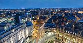 Leeds city centre skyline at night