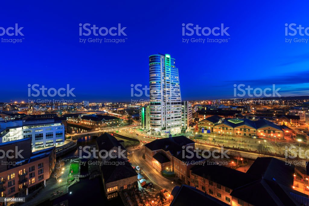 Leeds city centre skyline at night stock photo