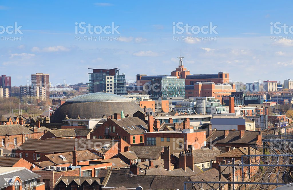 Leeds city centre skyline looking east stock photo