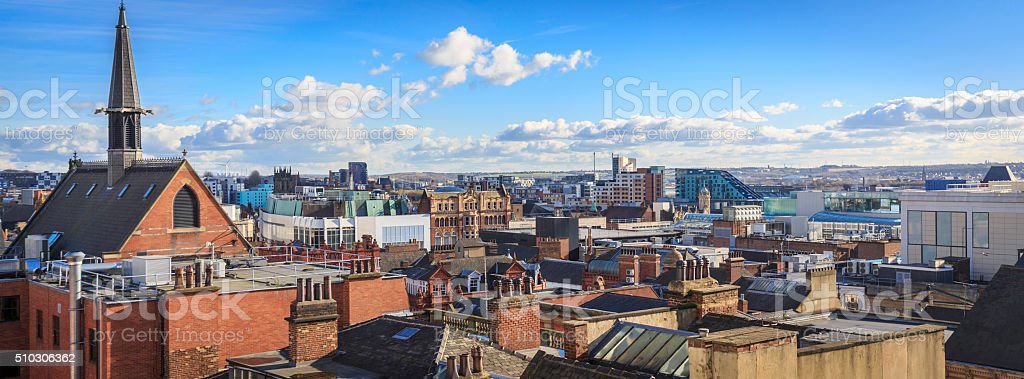 Leeds city centre skyline looking east stock photo