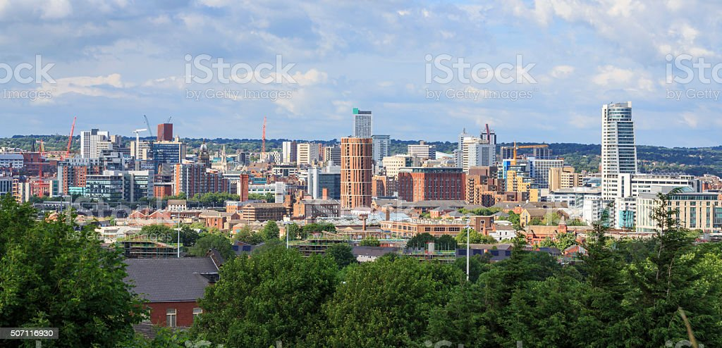 Leeds city centre skyline stock photo