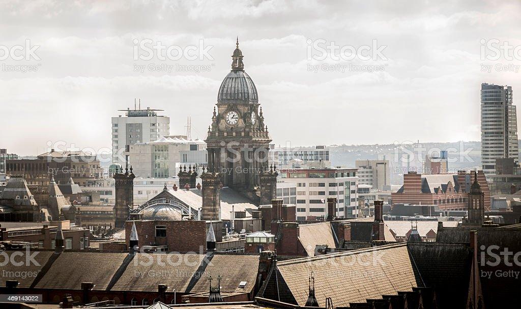 Leeds city centre skyline showing Leeds Town Hall stock photo
