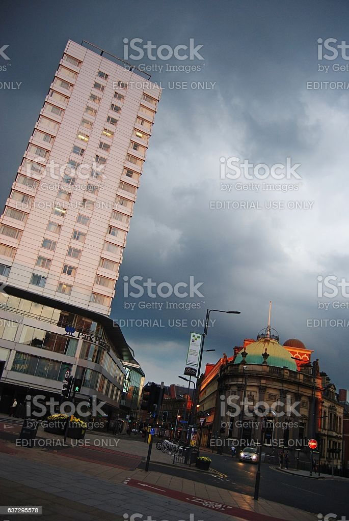 Leeds city square in the gathering dusk. stock photo