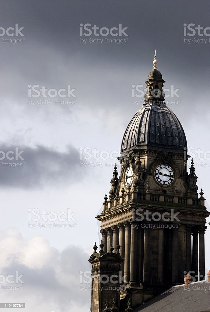 Leeds City Town Hall Clock stock photo