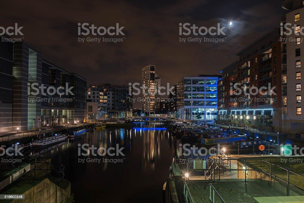 Leeds Dock At Night stock photo