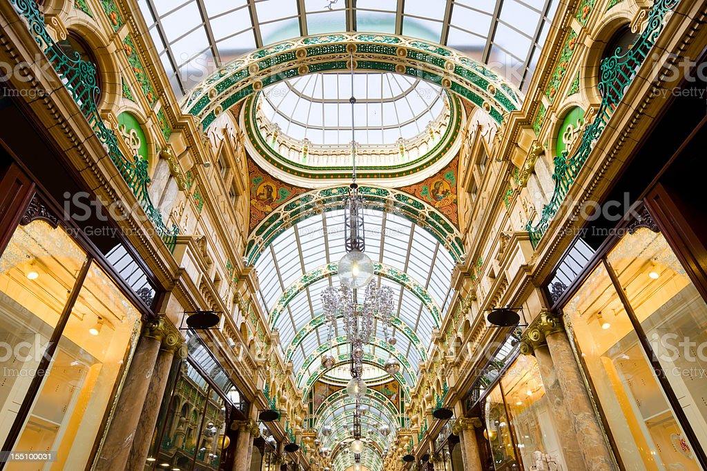 Leeds England UK Covered Queen Victoria Street stock photo