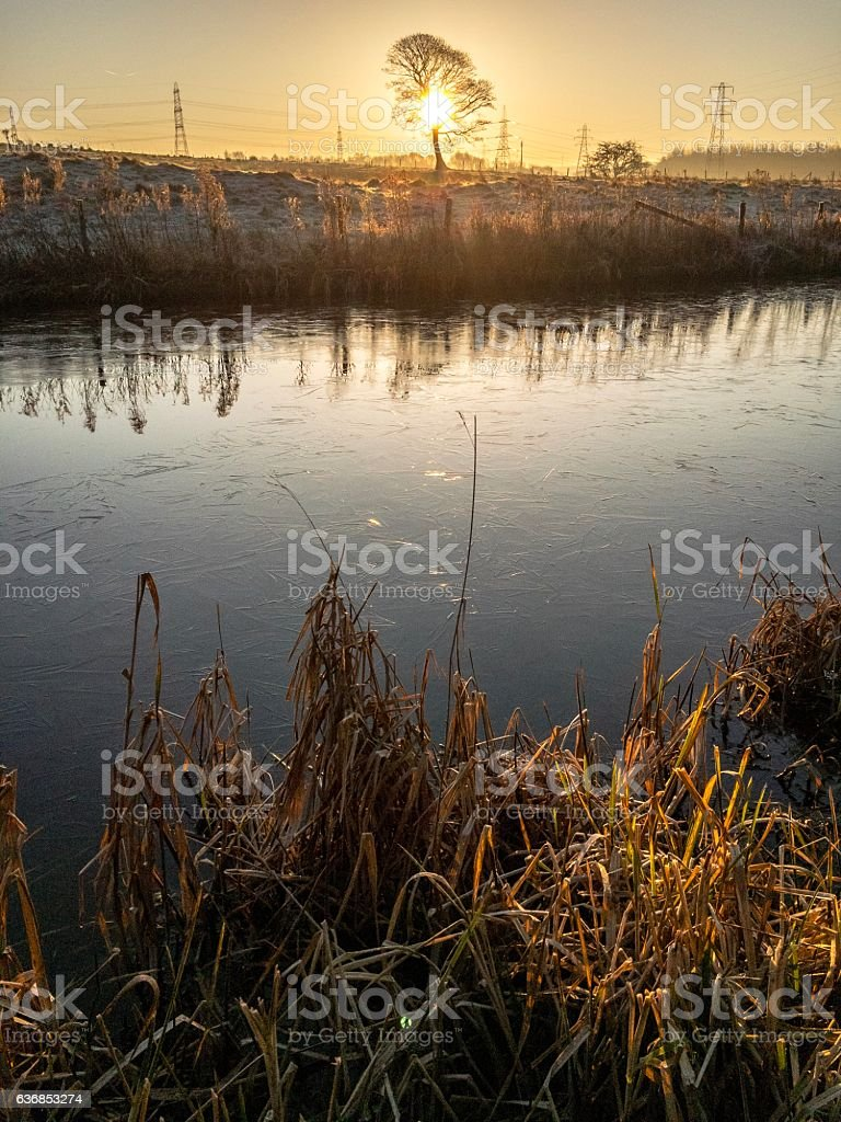 Leeds Liverpool Canal on a cold frosty morning stock photo