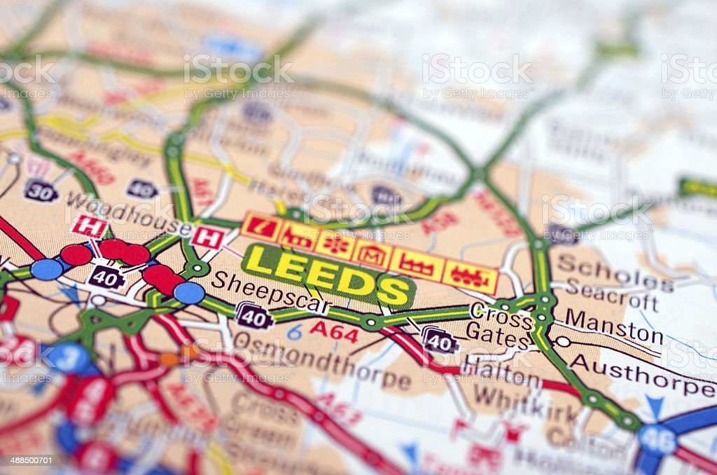 Leeds on road map stock photo