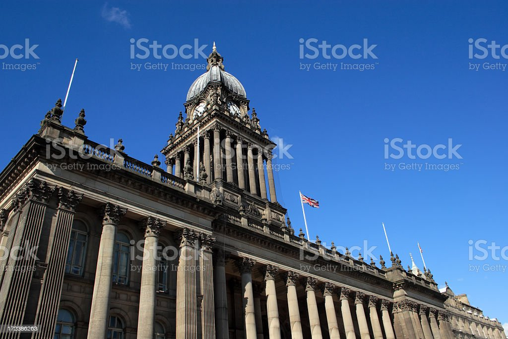 Leeds Town Hall against a clear blue sky stock photo