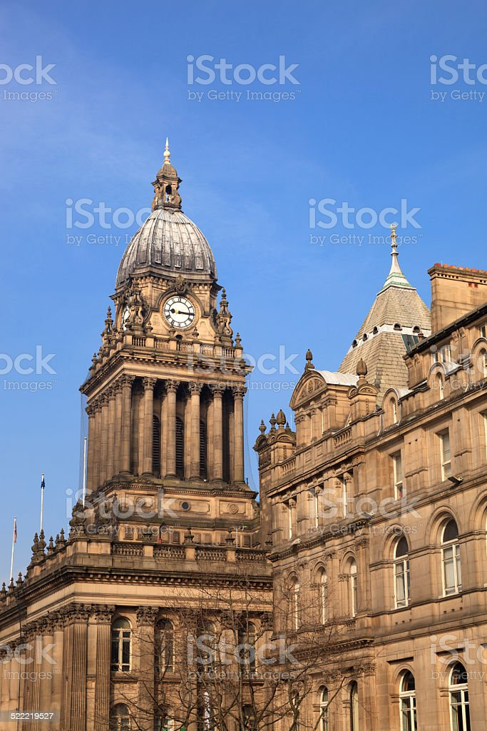 Leeds Town Hall and central library stock photo