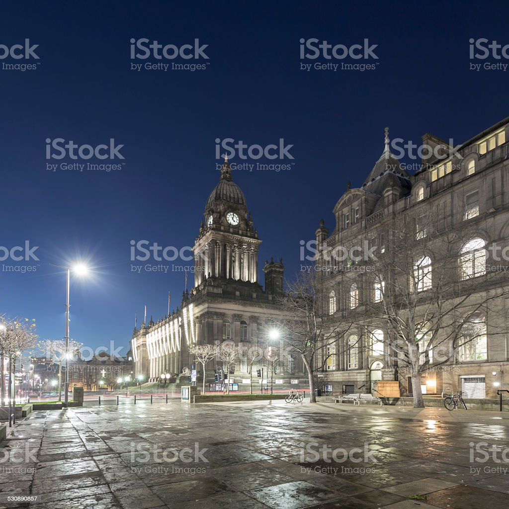Leeds Town Hall at night stock photo