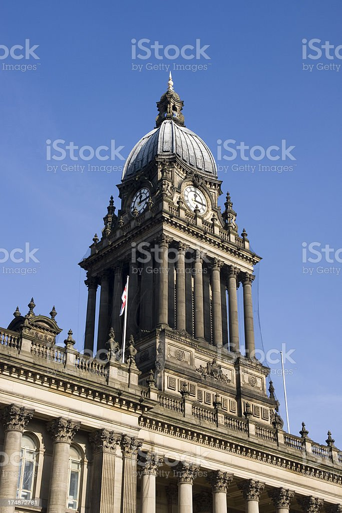 Leeds Town Hall clock above the grand entrance in Yorkshire royalty-free stock photo