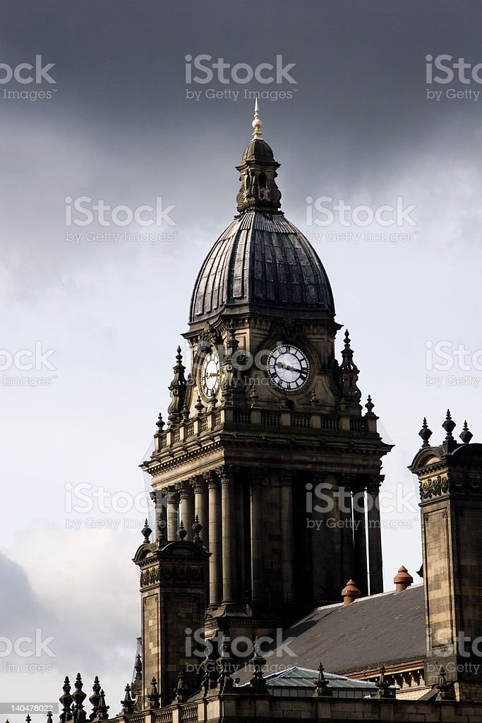 Leeds Town Hall Clock Tower stock photo