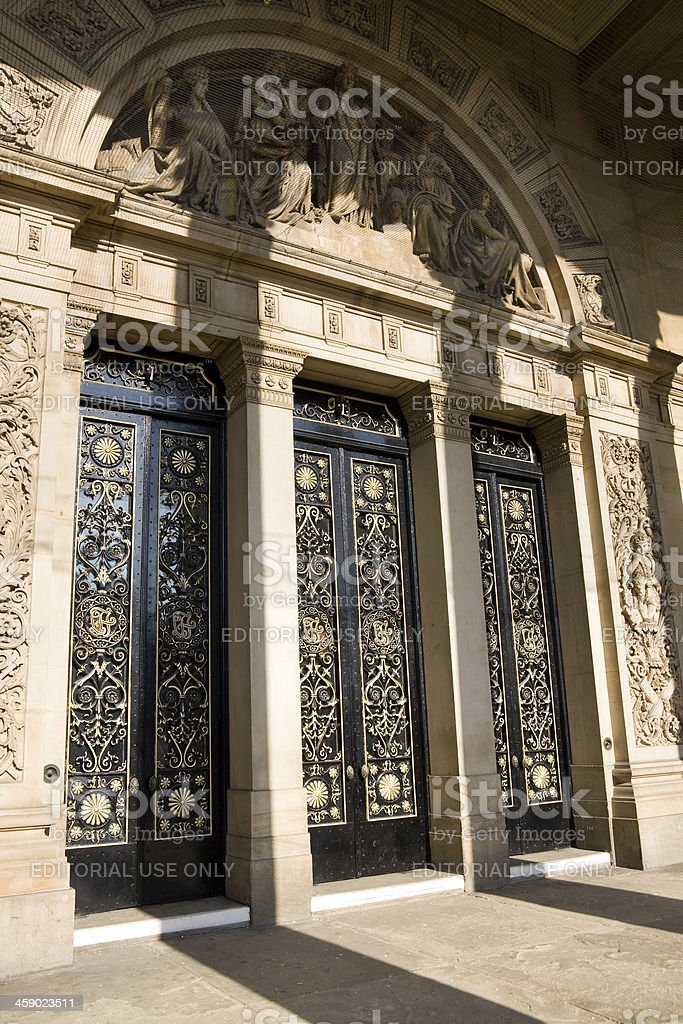 Leeds Town Hall Grand Entrance Doors in Yorkshire royalty-free stock photo