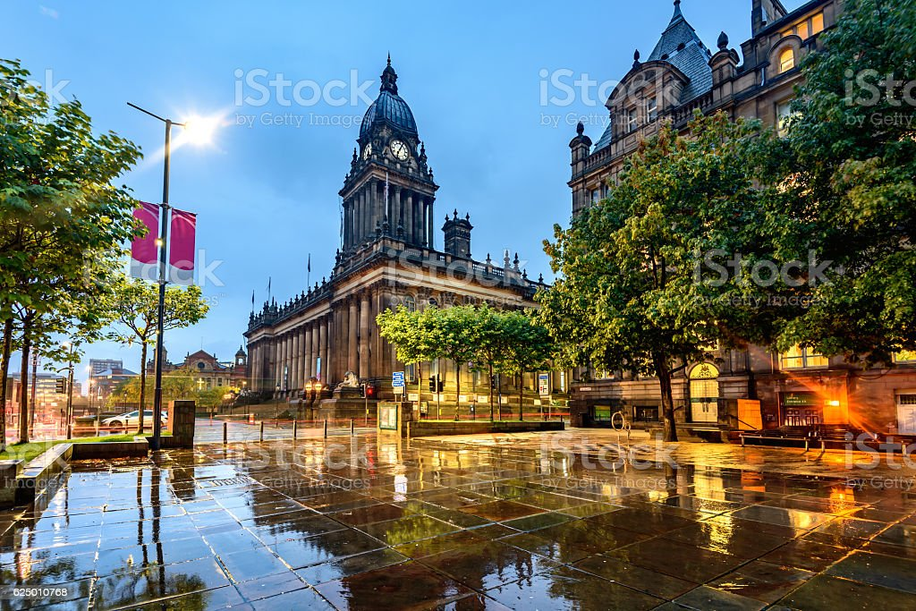 Leeds Town Hall, Leeds West Yorkshire,England stock photo