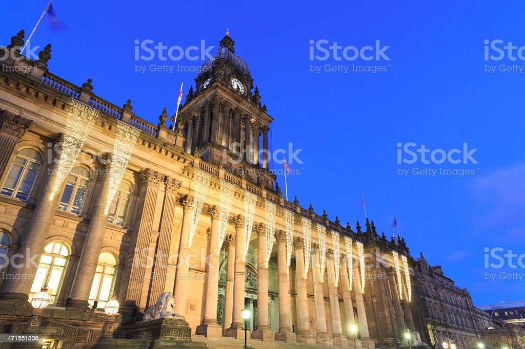 Leeds Town Hall lit up at dusk stock photo