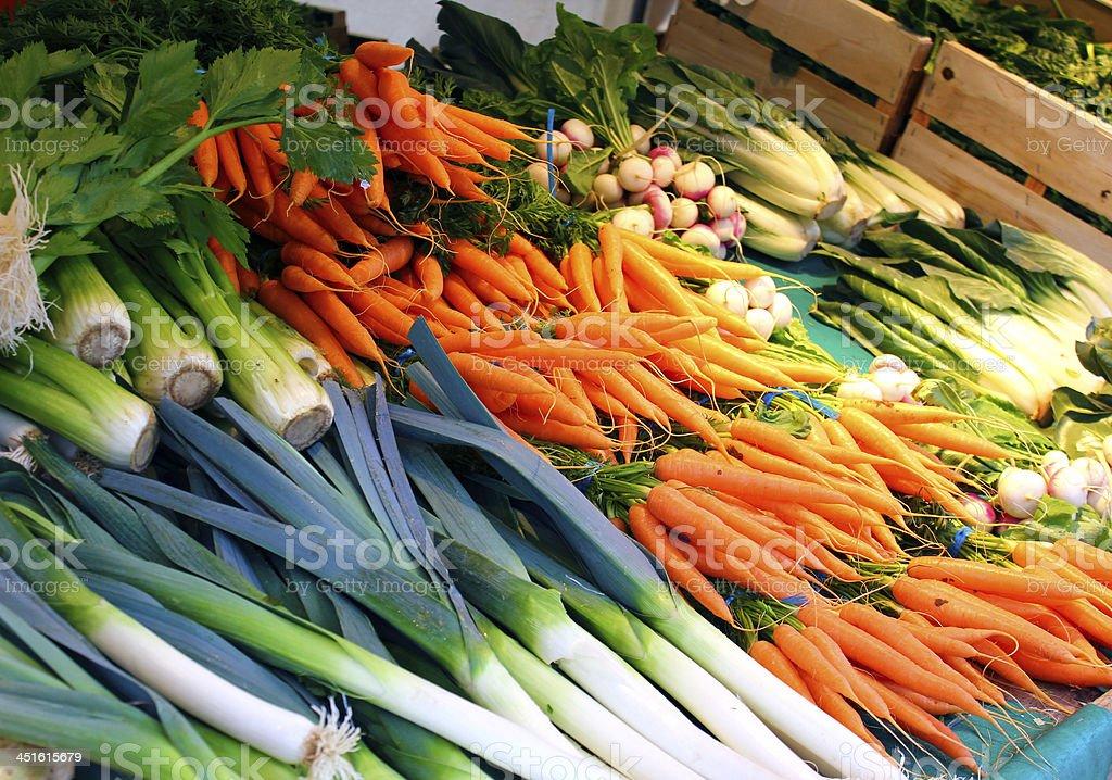 Leek, carrots, chard stock photo