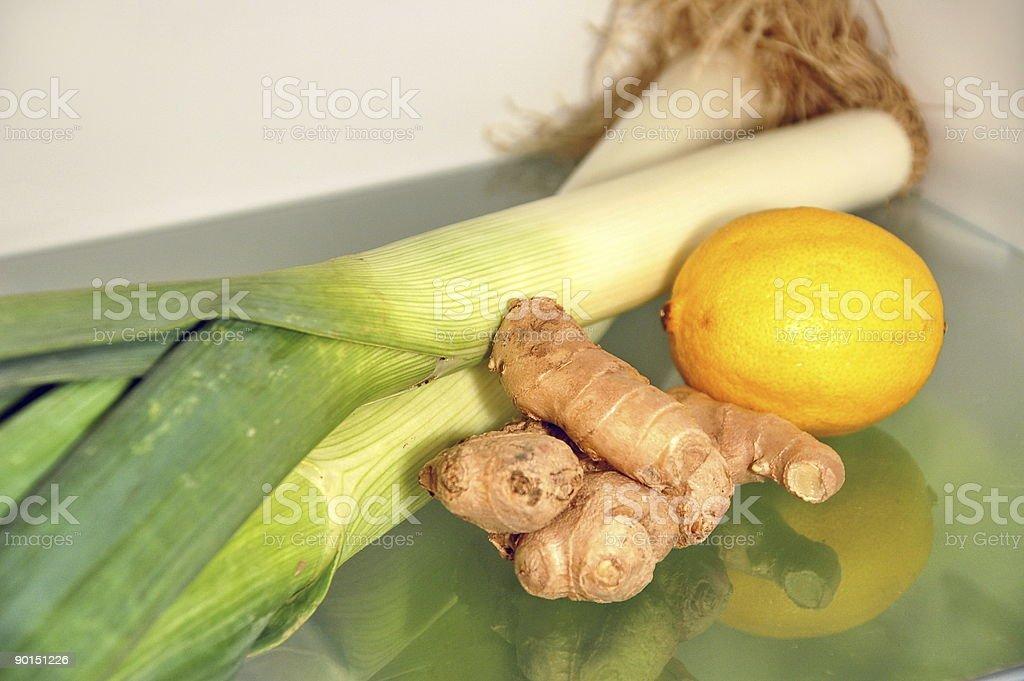 Leek, ginger and lemon stock photo