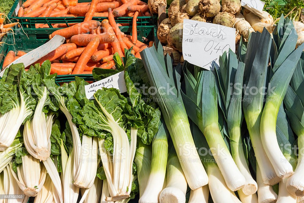Leek, mangold and carrots for sale stock photo