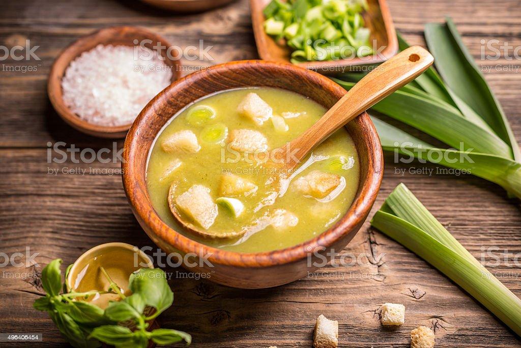 Leek soup in a bowl stock photo