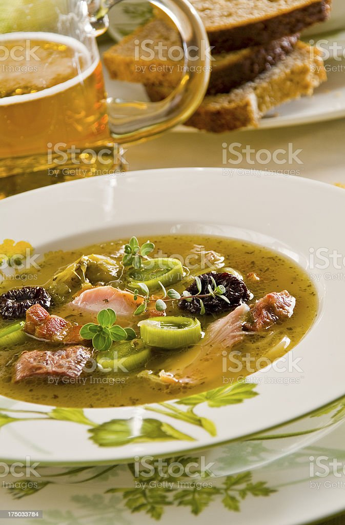 leek soup with whisky royalty-free stock photo