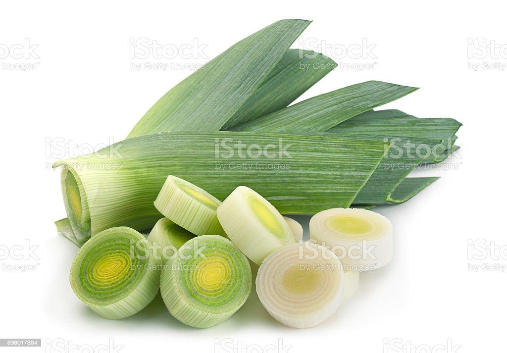 Leek vegetable on white stock photo