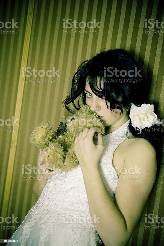 leery girl stock photo