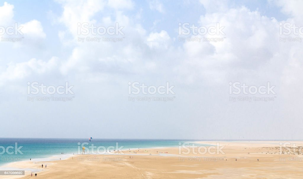 Sotavento beach. Famous lagoon in Risco El Paso at Playas de Sotavento, Fuerteventura stock photo